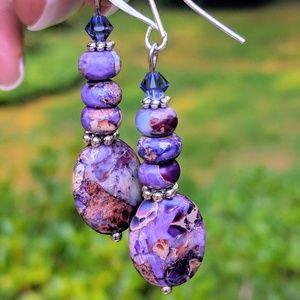 Handmade Jasper are earrings with Swarovski